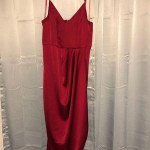 Express Faux Satin Wrap Dress